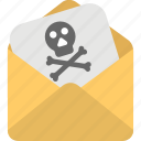 email with virus, internet hacking, pirate threat letter, spam message, virus alert icon
