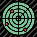 direction, location, military, navigation, radar icon