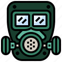 biological, chemical, gas, mask, miscellaneous, respirator, weapon icon