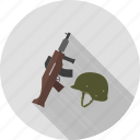 cross, gun, helmet, military, rifle, soldier, war icon