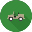 army, jeep, military, transportation, vehicle, war, world icon