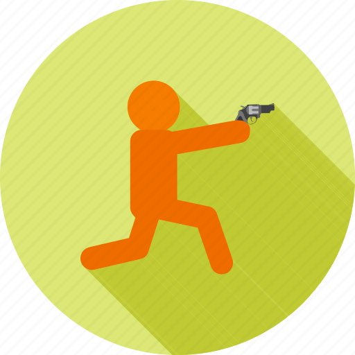 bullet, criminal, hunting, police, rifle, shooting, sitting icon