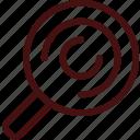 attorney, evidence, fingerprint, investigation, law, search, track icon
