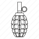 bomb, explosive, grenade, line, military, outline, war icon