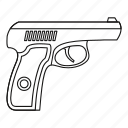 gun, handgun, line, outline, pistol, war, weapon icon