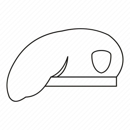 beret, line, military, outline, soldier, veteran, war icon