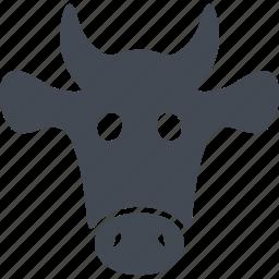 cow head, ears, horns, milk icon