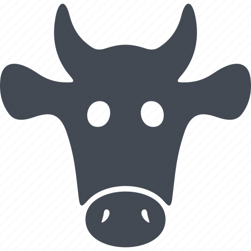 cow head, ears, horns, milk icon