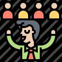 leader, mentor, responsibility, speaker, success icon