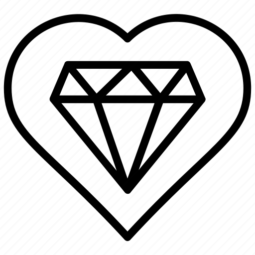 diamond, heart, kind hearted, love, valentine gift icon
