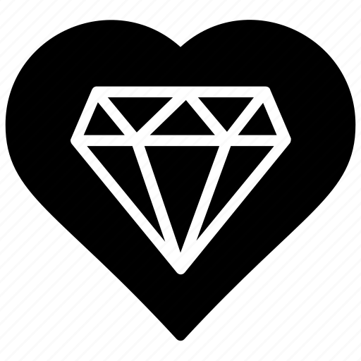 Heart, valentine gift, diamond, love, kind hearted icon