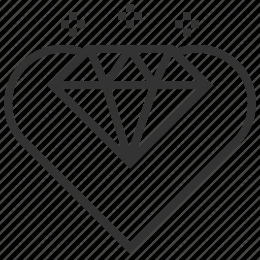diamond, habits, heart, love, millionaire, sign, valentine icon