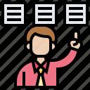 manage, plan, presentation, procedures, purpose icon
