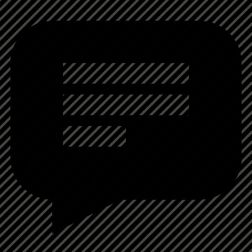 bubble, chat, comment, left, message, talk, text icon