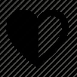 bookmark, favorite, favourite, half, heart, like, love icon