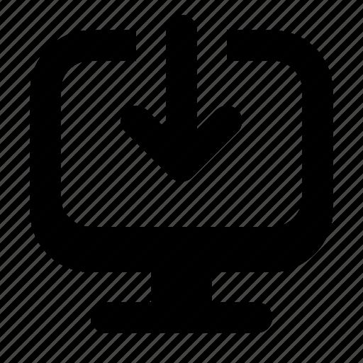 application, arrow, computer, desktop, down, download, screen icon
