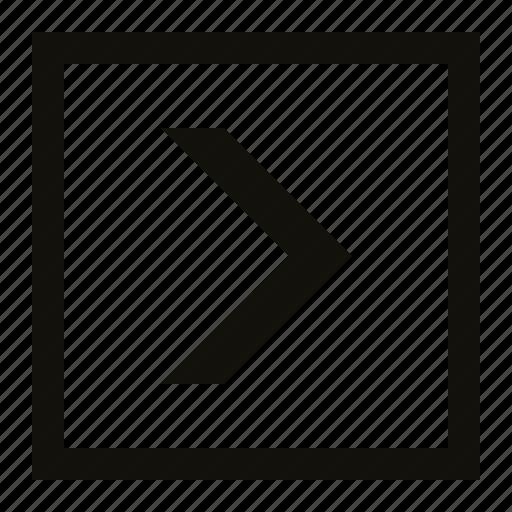 big, chevron, square icon