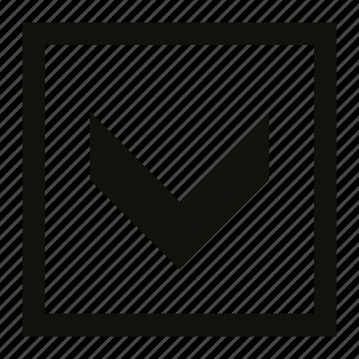 big, chevron, fat, square icon