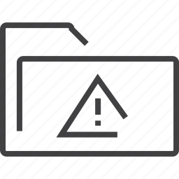 attention, documents, folder, warning icon