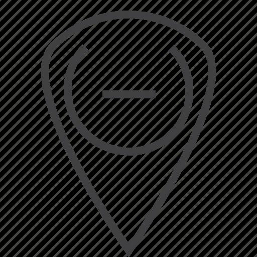 location, locator map, map, pen, remove, sticky, straight pin, thumbpin, thumbtack icon