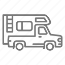 camper, recreational vehicle, rv, truck icon