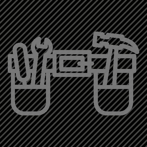 belt, energy, hammer, handyman, leather, tool, wrench icon