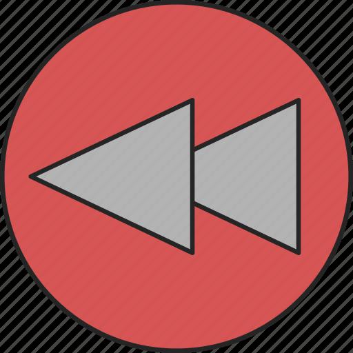 back, backward, direction, go back, previous, return, rewind icon