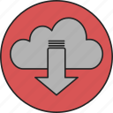 cloud, computing, database, download, network, server, storage icon