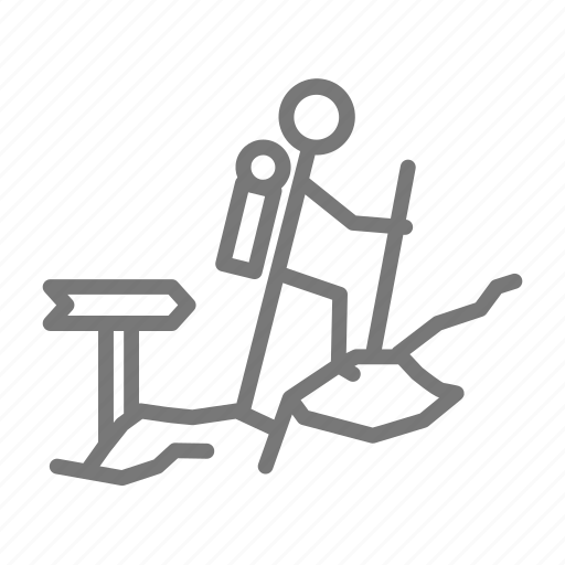 backpack, hike, rock, trail icon