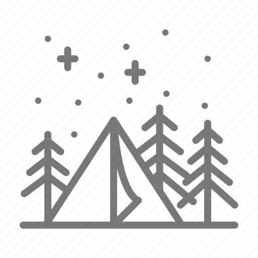 camp, night, park, tent, trees, vacation icon