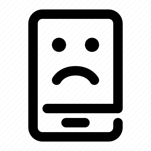 emotion, expression, face, mobile, sad, smartphone icon