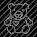 teddy, stuffed, toy, bear icon