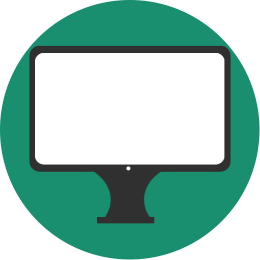 display, green, minmal, monitor, white icon