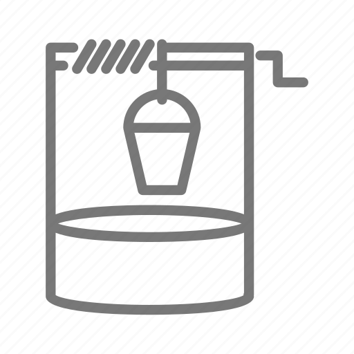 bucket, ground, lower, water, well, well water icon