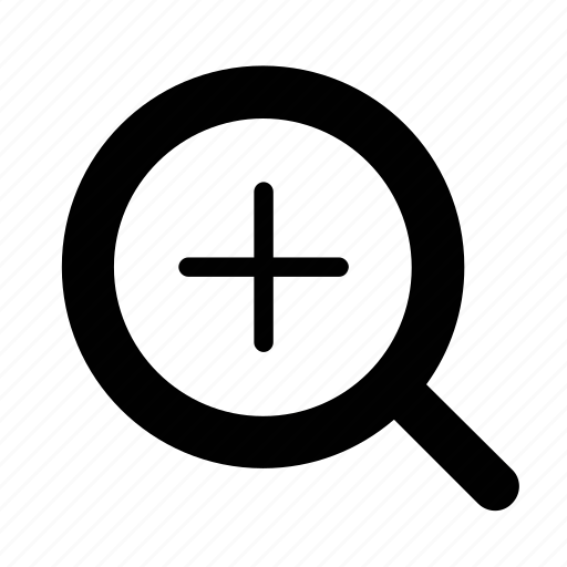 magnifying glass, plus, zoom icon