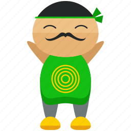 asian, character, man, moustache, person, profile, user icon