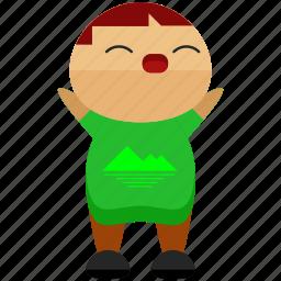 avatar, cheering, man, person, profile, tshirt, user icon
