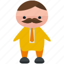 avatar, business, man, moustache, person, profile, user icon