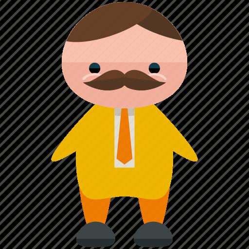 avatar, business, man, moustache, person, profile, user icon