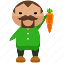 avatar, carrot, farmer, farming, man, person, profile icon