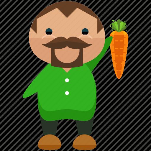 avatar, carrot, farmer, farming, man, person, profile icon
