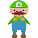 avatar, character, gaming, luigi, person, profile, user
