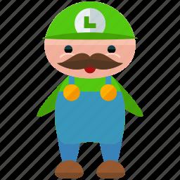avatar, character, gaming, luigi, person, profile, user icon