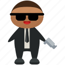 agent, avatar, gun, man, person, profile, user icon