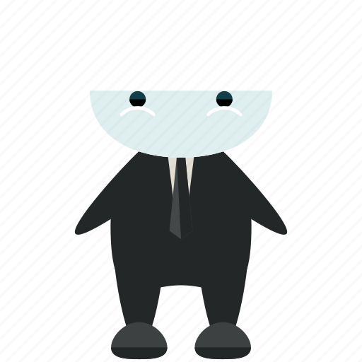 avatar, character, pale, person, profile, suit, user icon