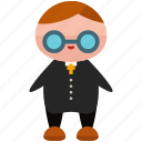 avatar, glasses, person, priest, profile, suit, user