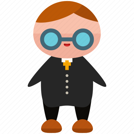 avatar, glasses, person, priest, profile, suit, user icon