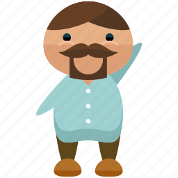 avatar, beard, man, person, profile, user, waving icon