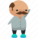 avatar, man, moustache, person, profile, user, waving