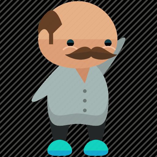 avatar, man, moustache, person, profile, user, waving icon